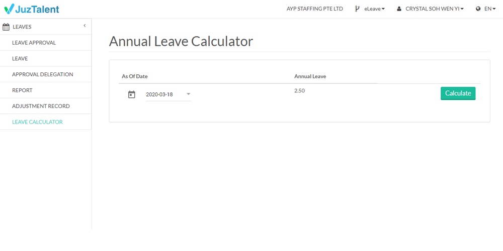 Leave Calculator
